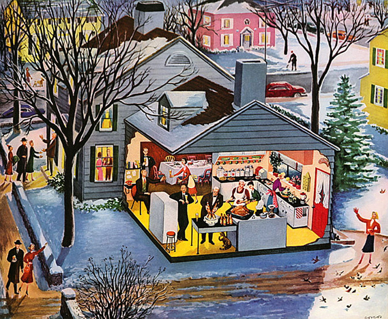 Cutaway Of A 1950 S Suburban Holiday Party Matthew S