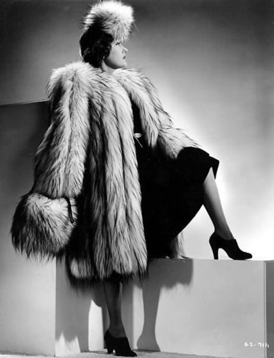 Gloria Swanson, in fur