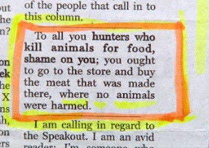 To all you hunters who kill animals… toofunny!
