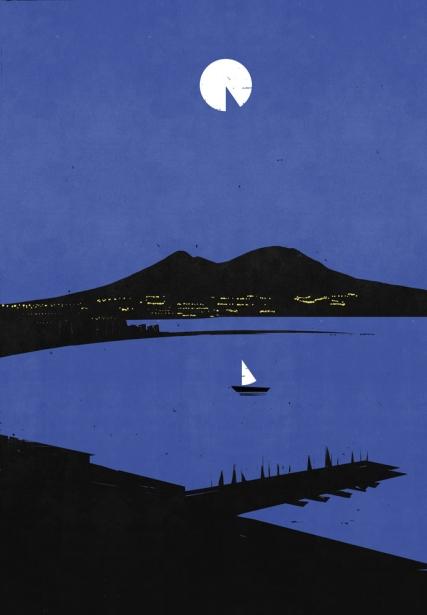 Sailboat and moonlight