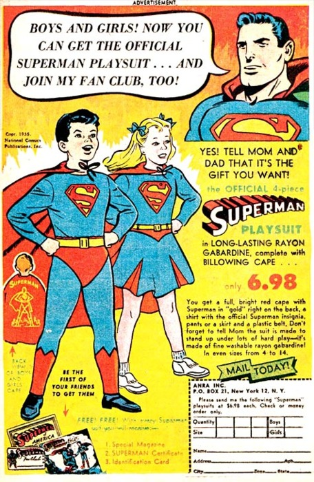 Official Superman play suit (belted red underwear included)