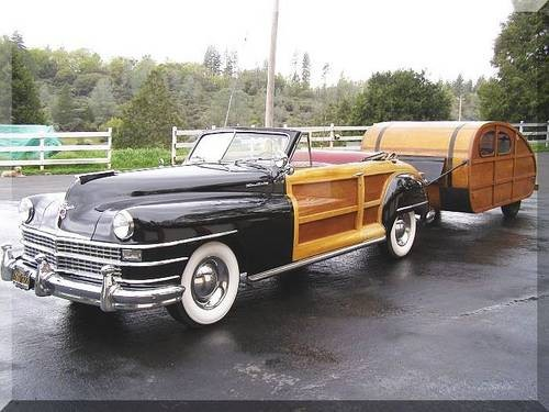 1947 wood paneled car and wood camper