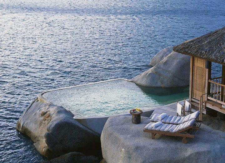Pool built into granite beach rock