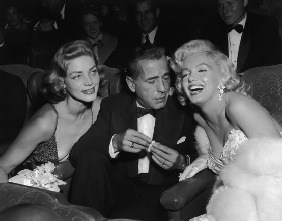 Lauren Bacall, Humphrey Bogart, and Marilyn Monroe