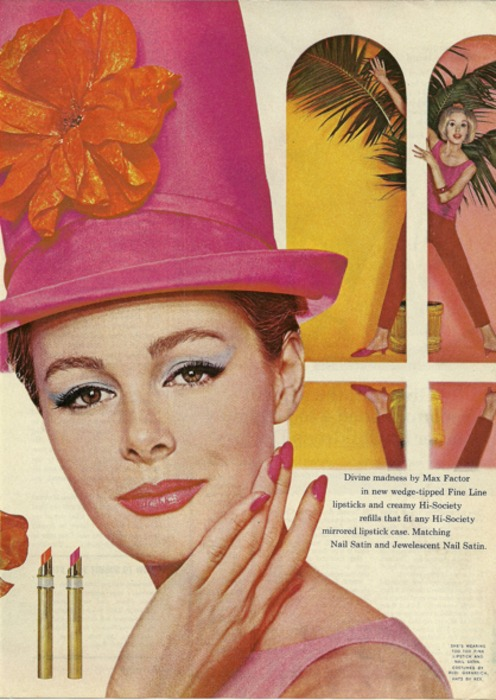 Mod Topper in ad for Divine madness by Max Factor