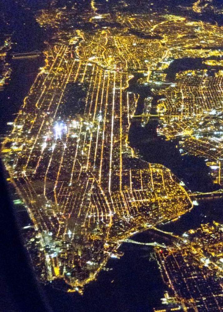 Manhattan at night, from theair