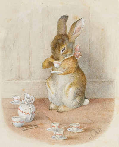Rabbit, having a cup of tea