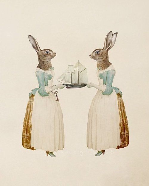 Rabbits, in dresses