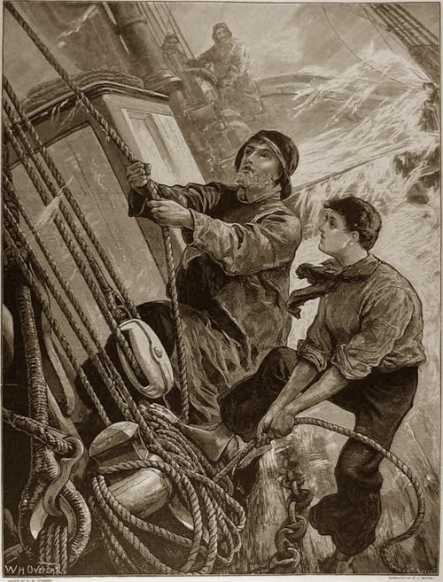 Sailors at sea in a storm