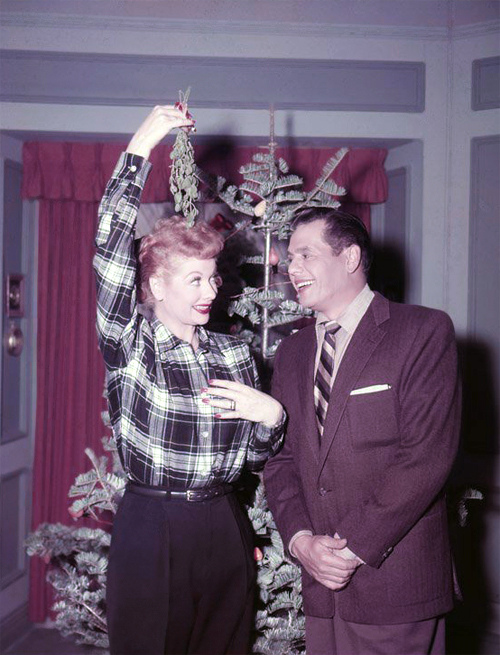 Lucy and Desi under the mistletoe