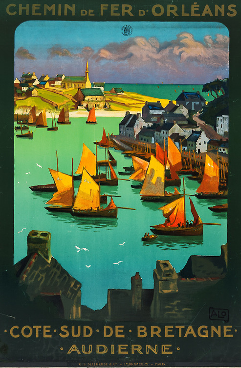Old French Railroad Poster: Cote Sud de Bretagne