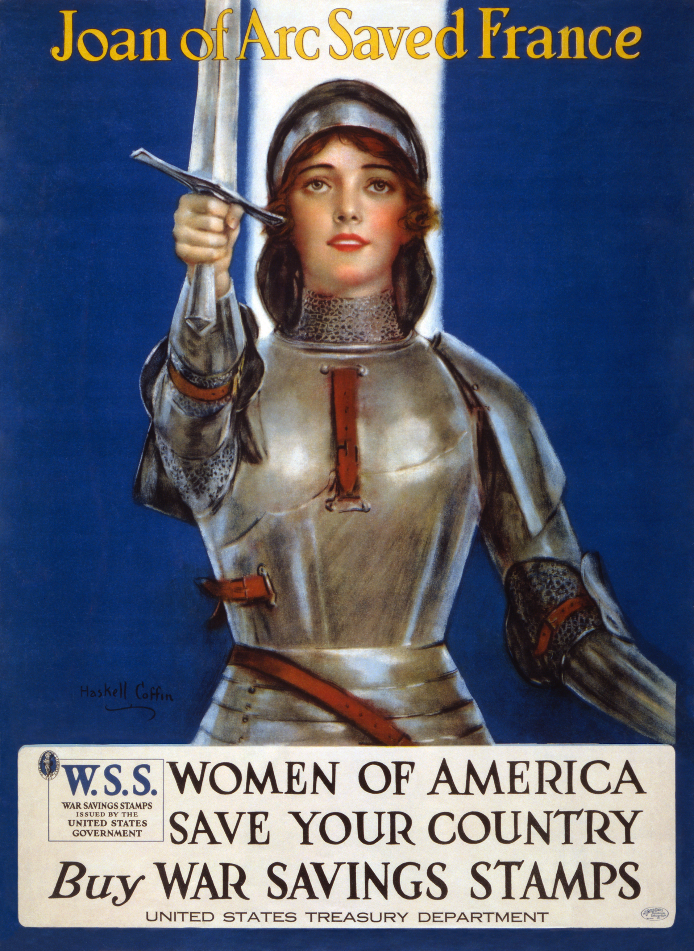 St Joan of Arc, volunteer spokesmodel for the US Treasury Department, World War I