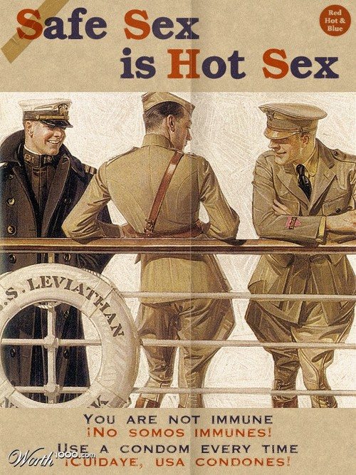 Public Service Announcement: Looks like someone used an old Leyendecker print for a safe sex poster