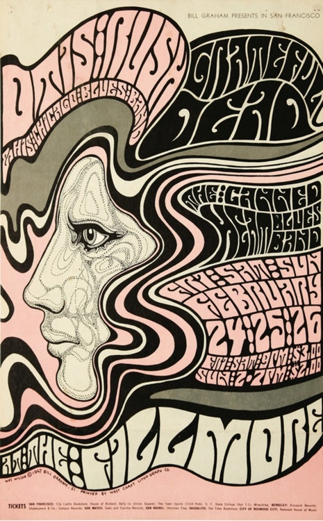 Psychedelic Posters For Acid Rock Bands In San Francisco Late 1960s