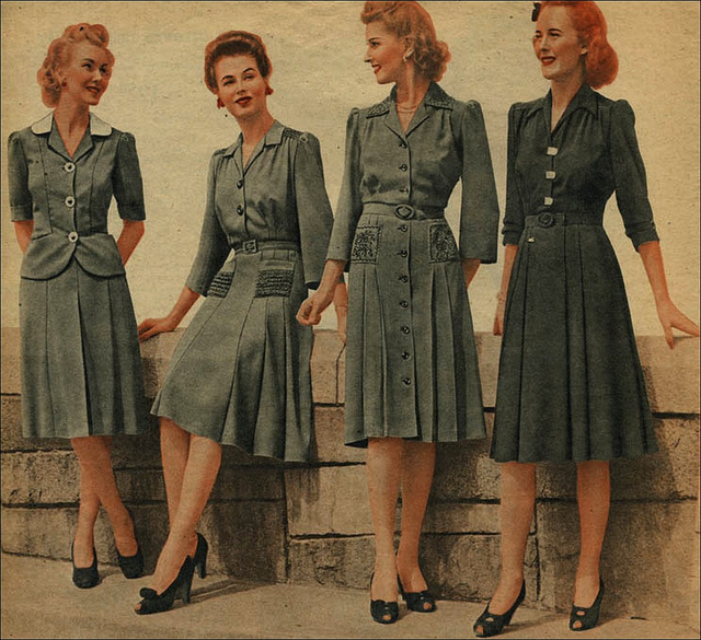 War time fashion: Drab dresses in1942