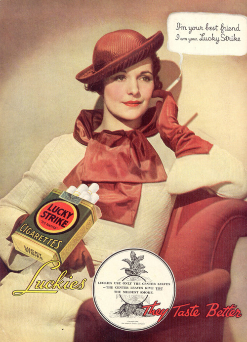 I'm your best friend, I am your Lucky Strike, 1930s
