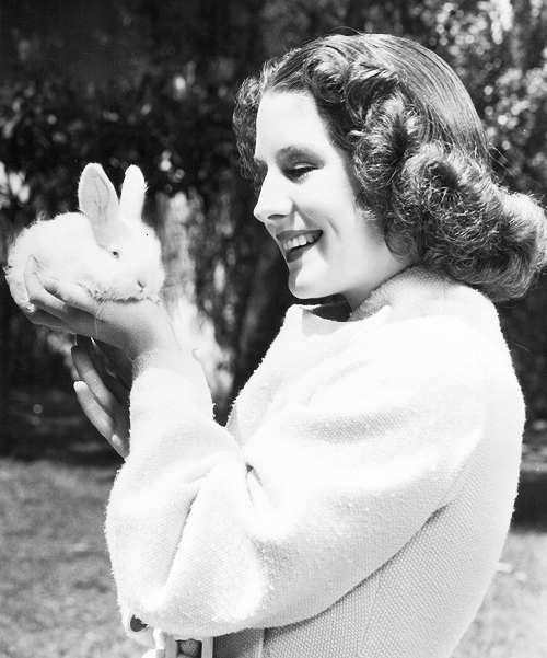 Norma Shearer with a bunny, 1930s