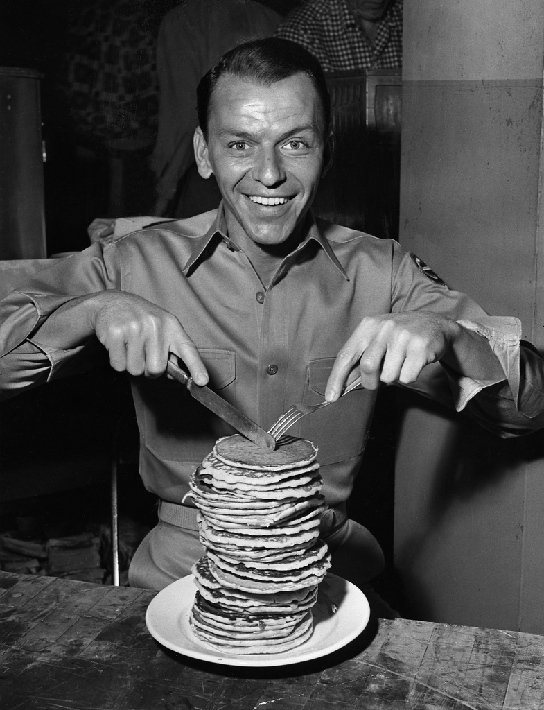Frank Sinatra and a stack of pancakes