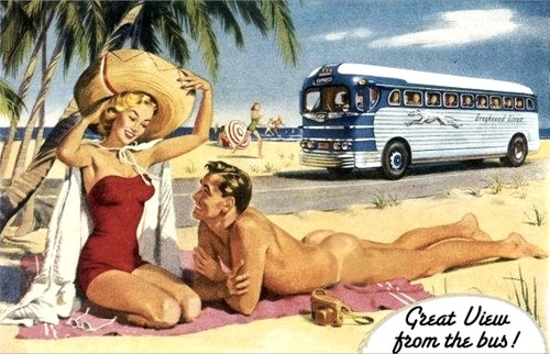 Using nude man in old Greyhound Bus Lines ad (huh?)