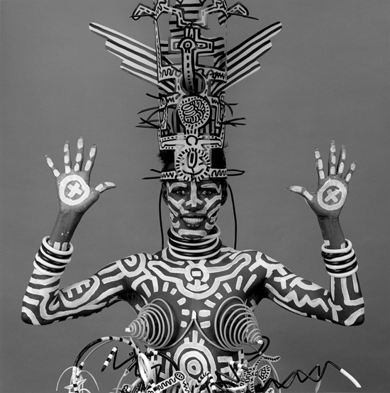 Model designed by Keith Haring and photographed by RobertMapplethorpe