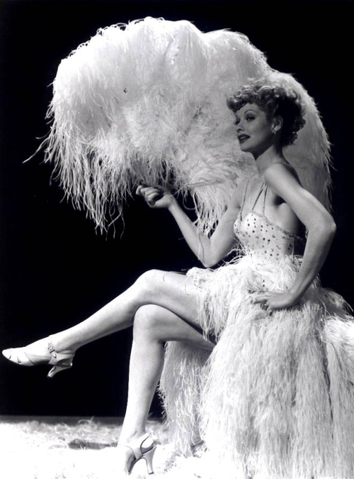 Lucille Ball, working some ostrichfeathers