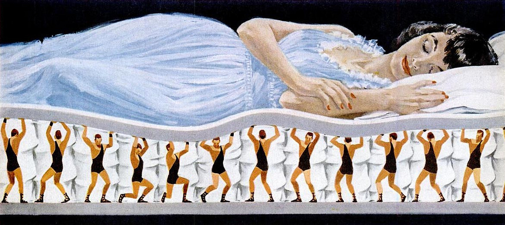 Mattress – sleep soundly supported by an army of tiny singlet wearing he-men