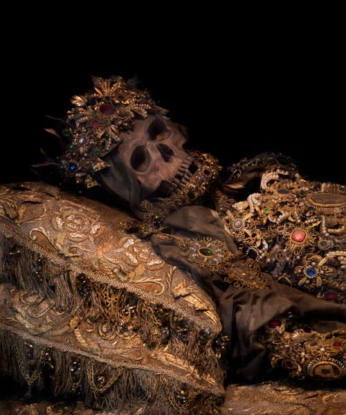 The bejewelled and mummified remains of St. Deodatus smiles in approval of the new Pope
