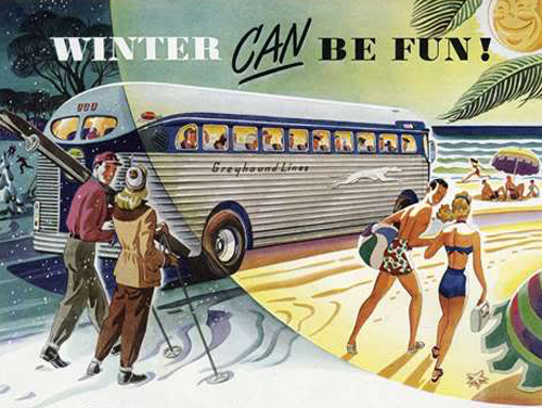 Winter CAN be fun! (Old Greyhound Bus Lines Ad)