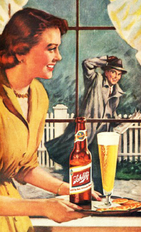 Greet your husband with a Schlitz