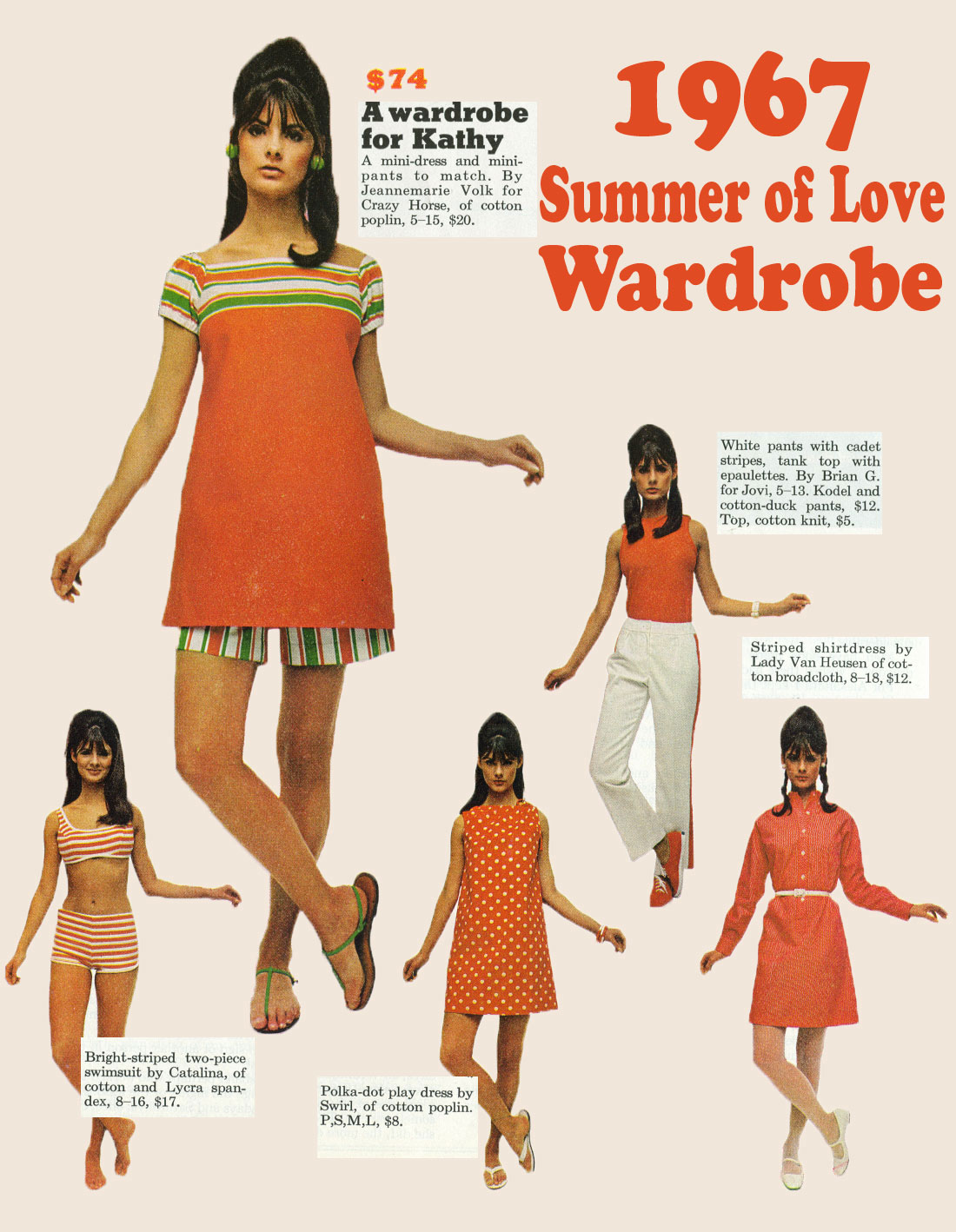 1967 Summer Of Love Wardrobe For 74 Orange Glow
