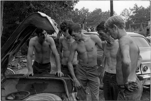 Gratuitous shirtless auto mechanics,1960s