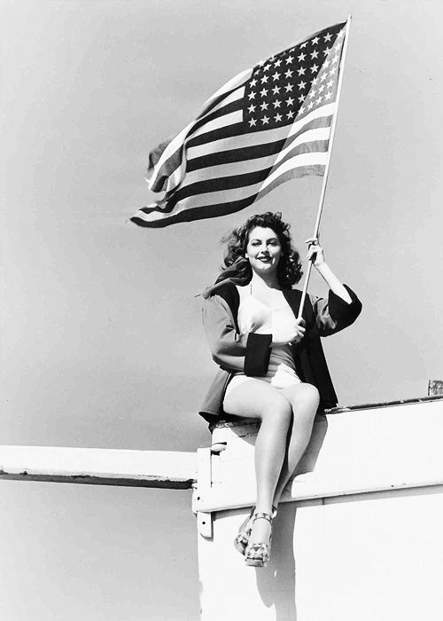 Ava Gardner waving the USflag
