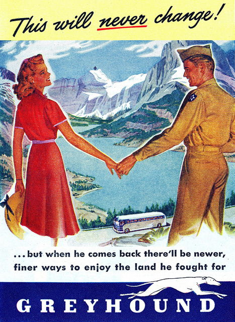 WWII era Greyhound Bus ad
