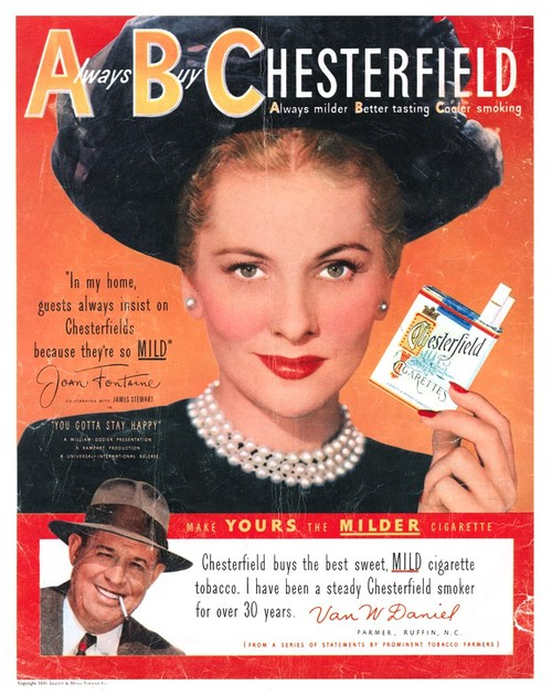 Joan Fontaine in a Chesterfield Cigarette Ad