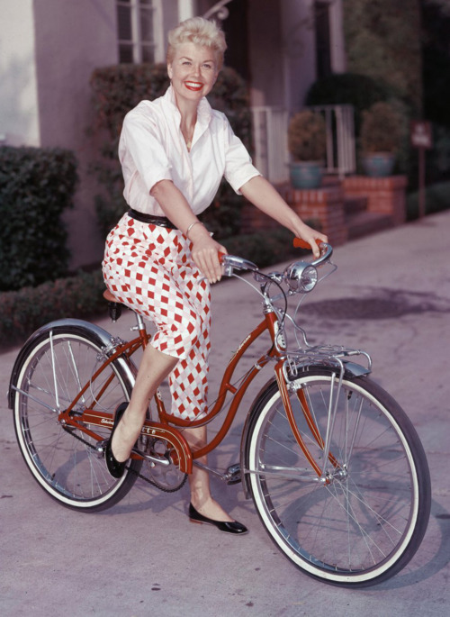 Doris Day on abicycle