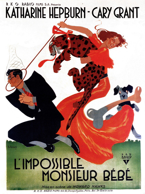 "L'Impossible Monsieur Bebe – French poster for ""Bringing Up Baby"""