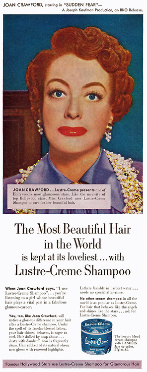 Joan Crawford in an ad for Lustre-Creme Shampoo