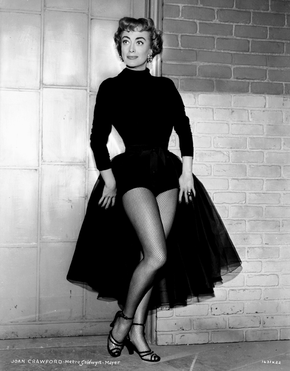 Joan Crawford in fishnet stockings, 1953
