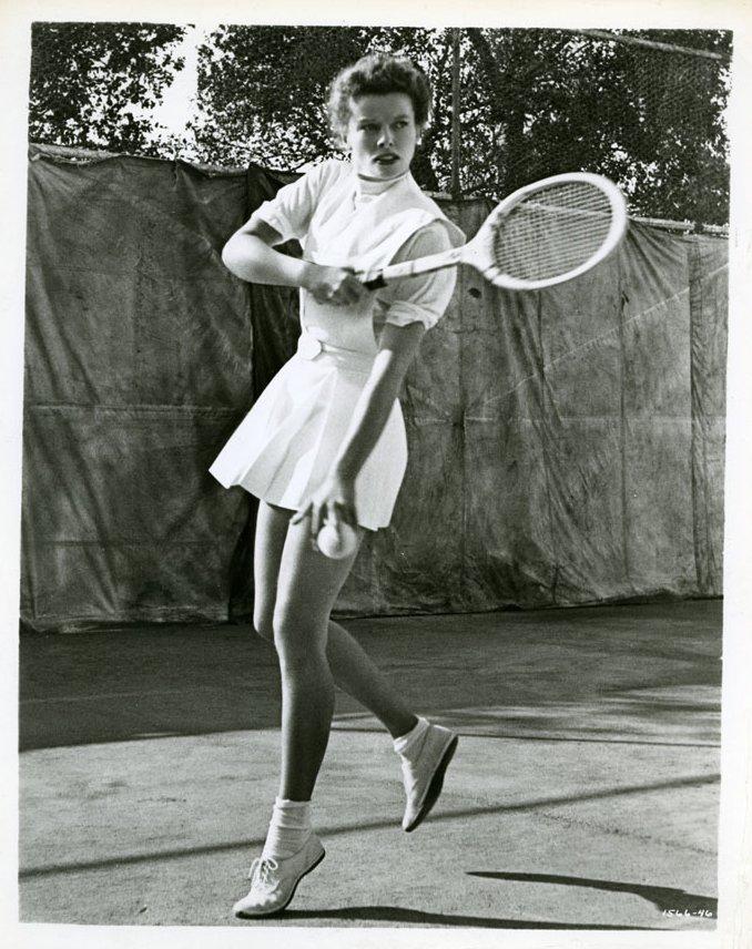 Katharine Hepburn, playingtennis