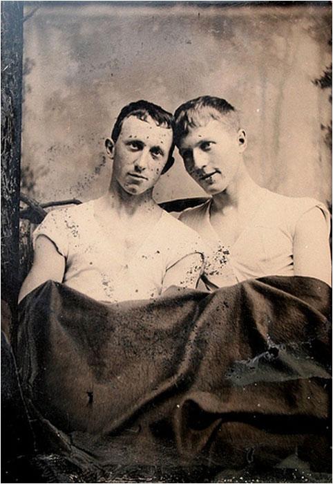 Men together, under a blanket,1800s