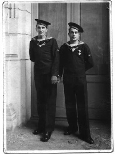 Sailors holding hands