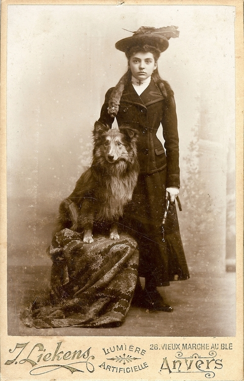 Young woman and a dog, Anvers, France,1800s
