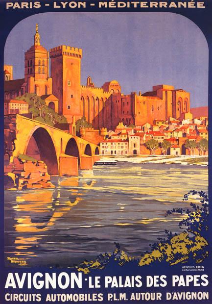 Old travel poster for Avignon,France