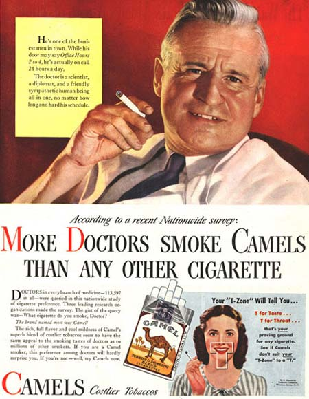 More doctors smoke Camels than any othercigarette