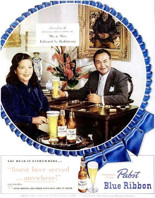Mr. and Mrs Edward G. Robinson enjoying a Pabst BlueRibbon