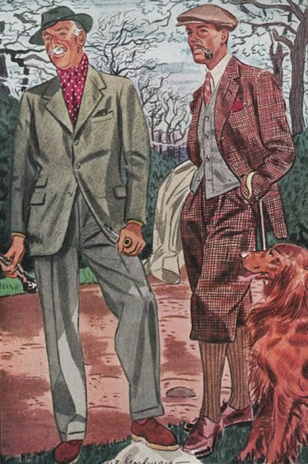 1930s Men's walking clothes, illustration by Fellows for Esquire