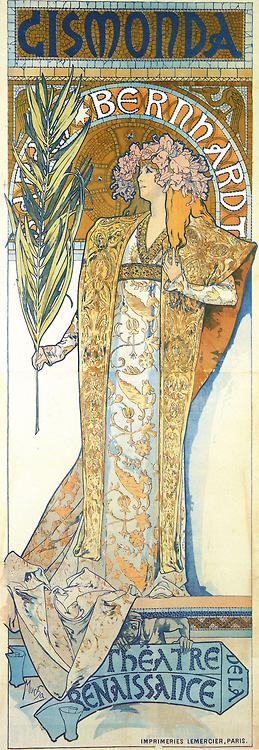 Beautiful Belle Epoque style poster for Sarah Bernhardt performing at the Theatre de la Renaissance inparis