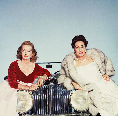 """Bette Davis and Joan Crawford in a promo pic for """"Whatever Happened to Baby Jane"""",1962"""