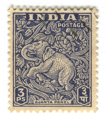 Elephant stamp from India