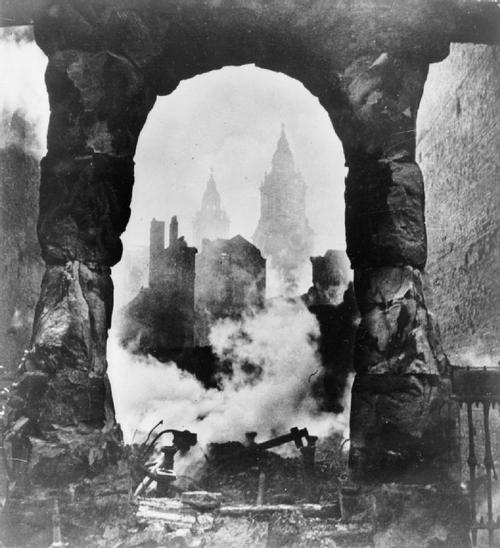 Smoldering ruins of London during the Blitz, 1940 (Photo by CecilBeaton)
